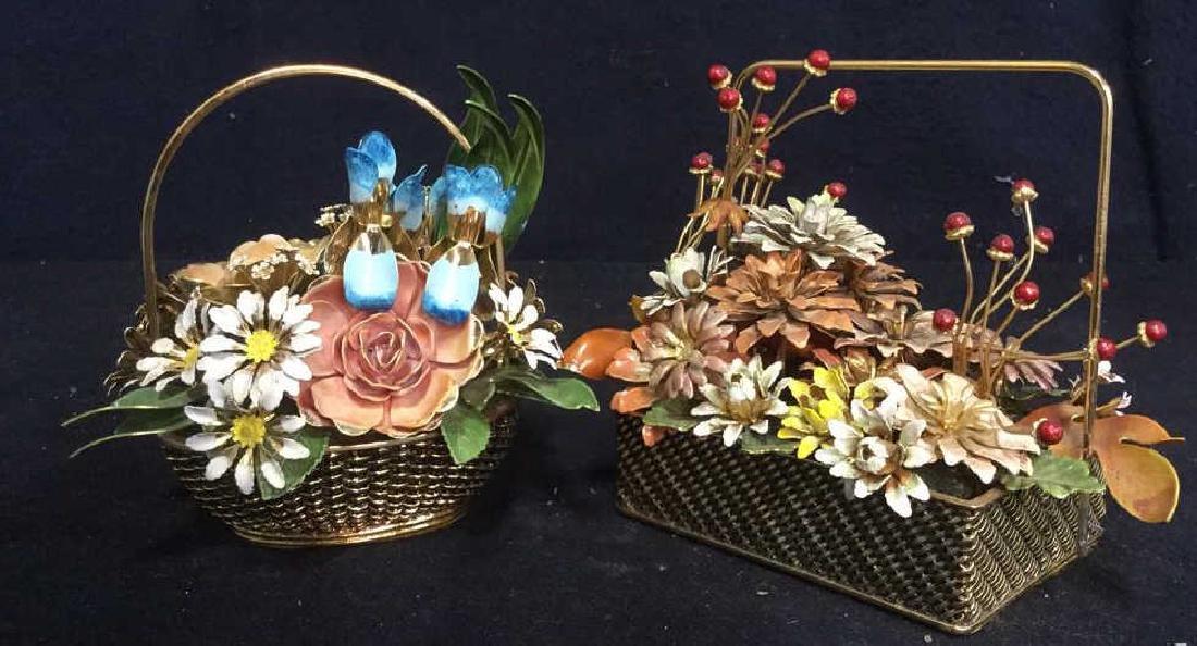 2 Gloria Vanderbilt Painted Metal Floral Bouquets