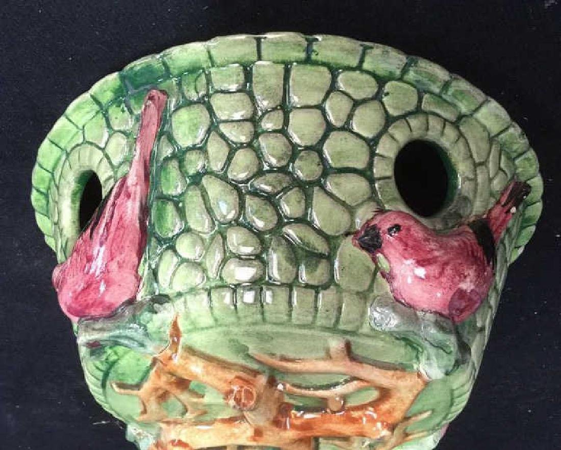 Majolica Ceramic Bird Vine Planter