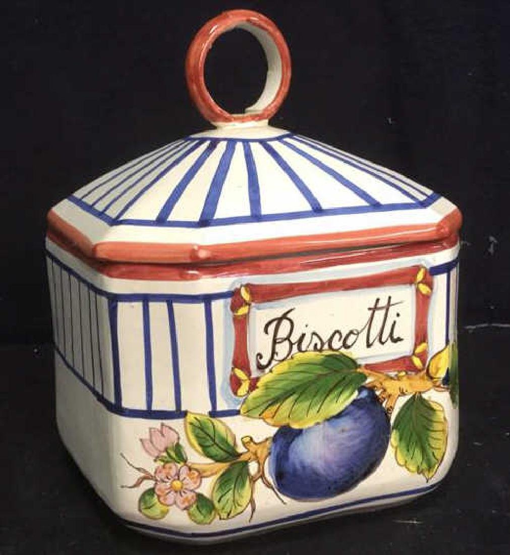 Hand Painted Ceramic Cookie Jar, Italy