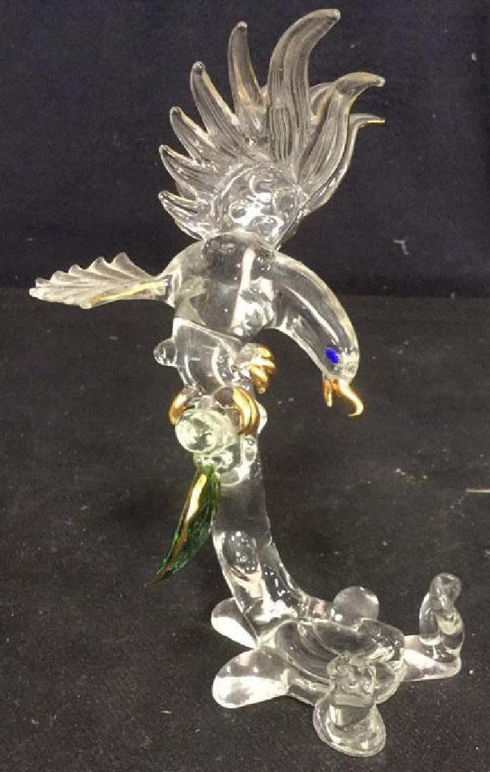 Glass Bird on Tree Sculpture