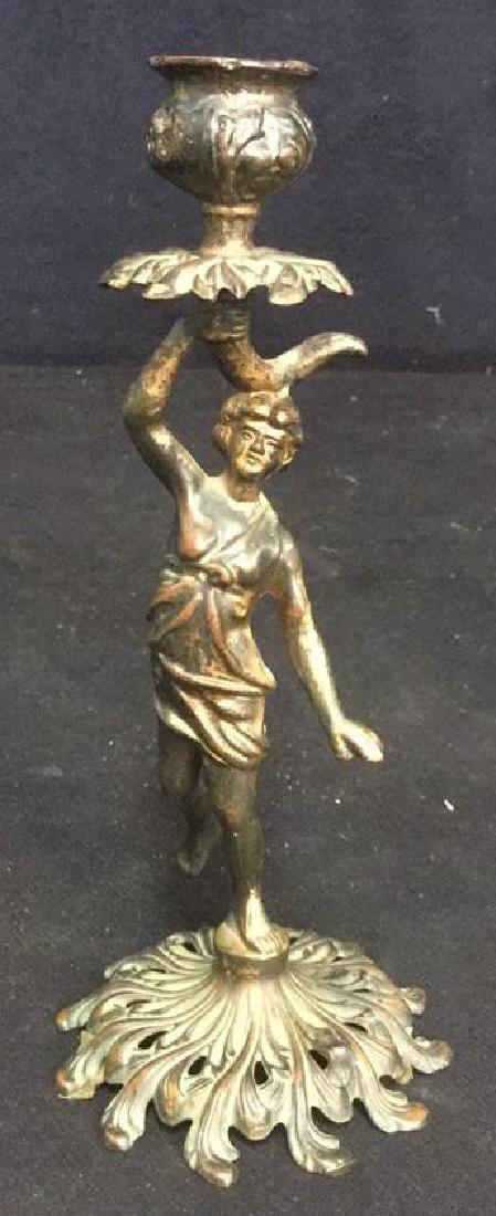 Art Nouveau Possibly Bronze Figural Candlestick