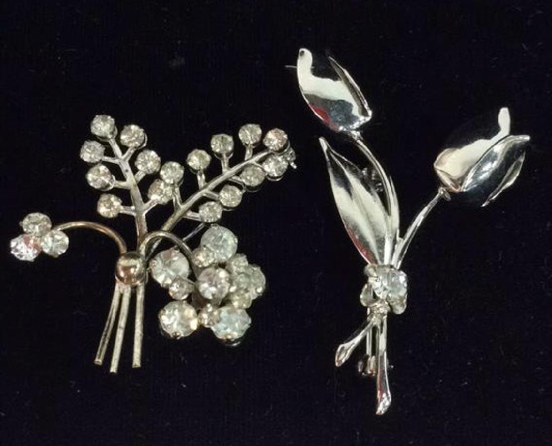 Pair Silver Toned Metal Pins W Rhinestones