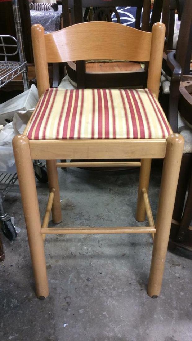 Pair Wooden Cushioned Stools W Backrests