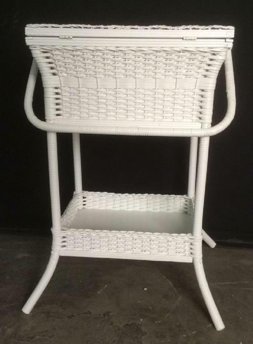 White Toned Wicker Basket With Legs Stand