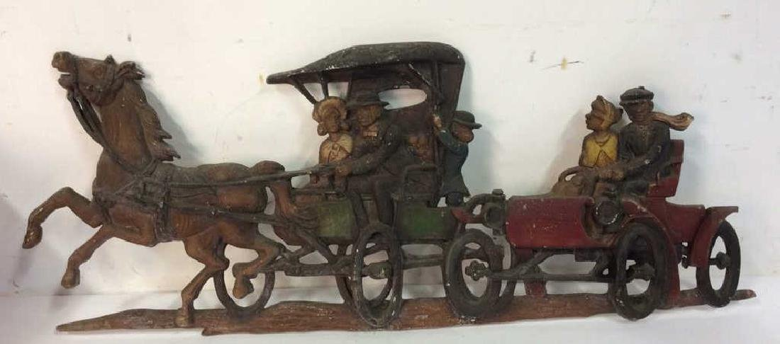 Vintage Painted Iron Horse Carriage Wall Hanging