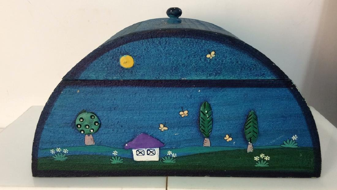 Painted Wooden Box W Dimensional Decorative Detail
