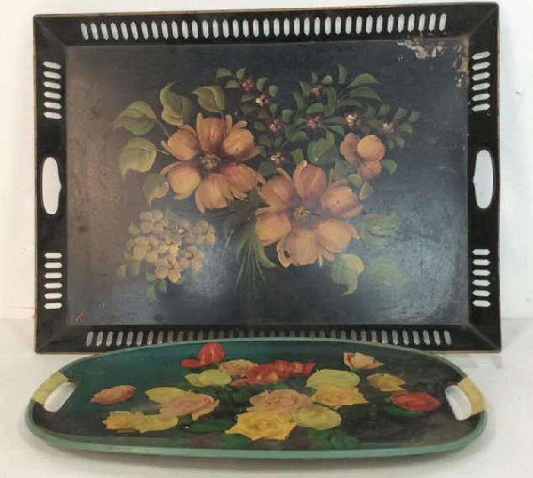 2 Vintage Floral Tole Style Trays Marked