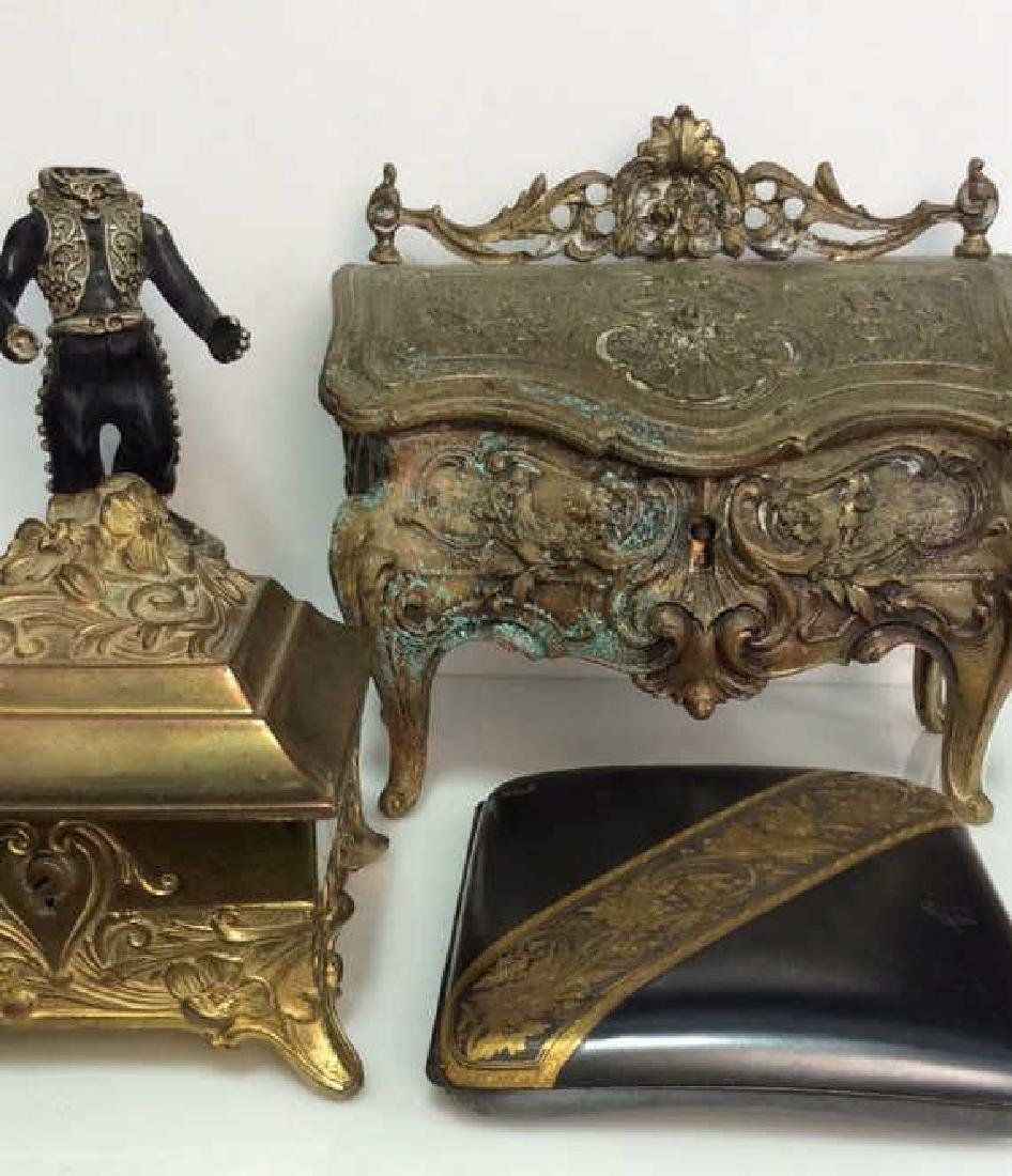 Lot 4 Assorted Vintage Brass Toned Metal Acc.
