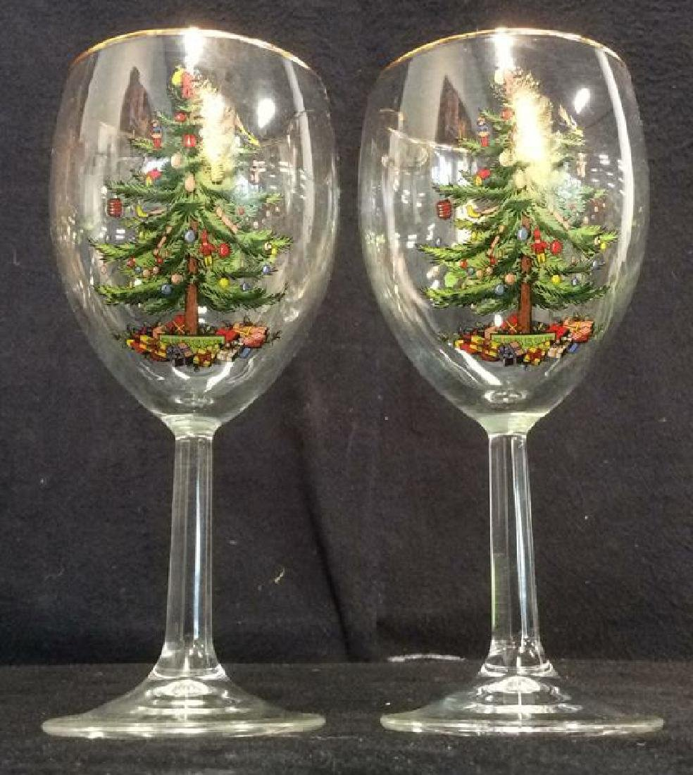 Pair Holiday Themed Wine Glasses