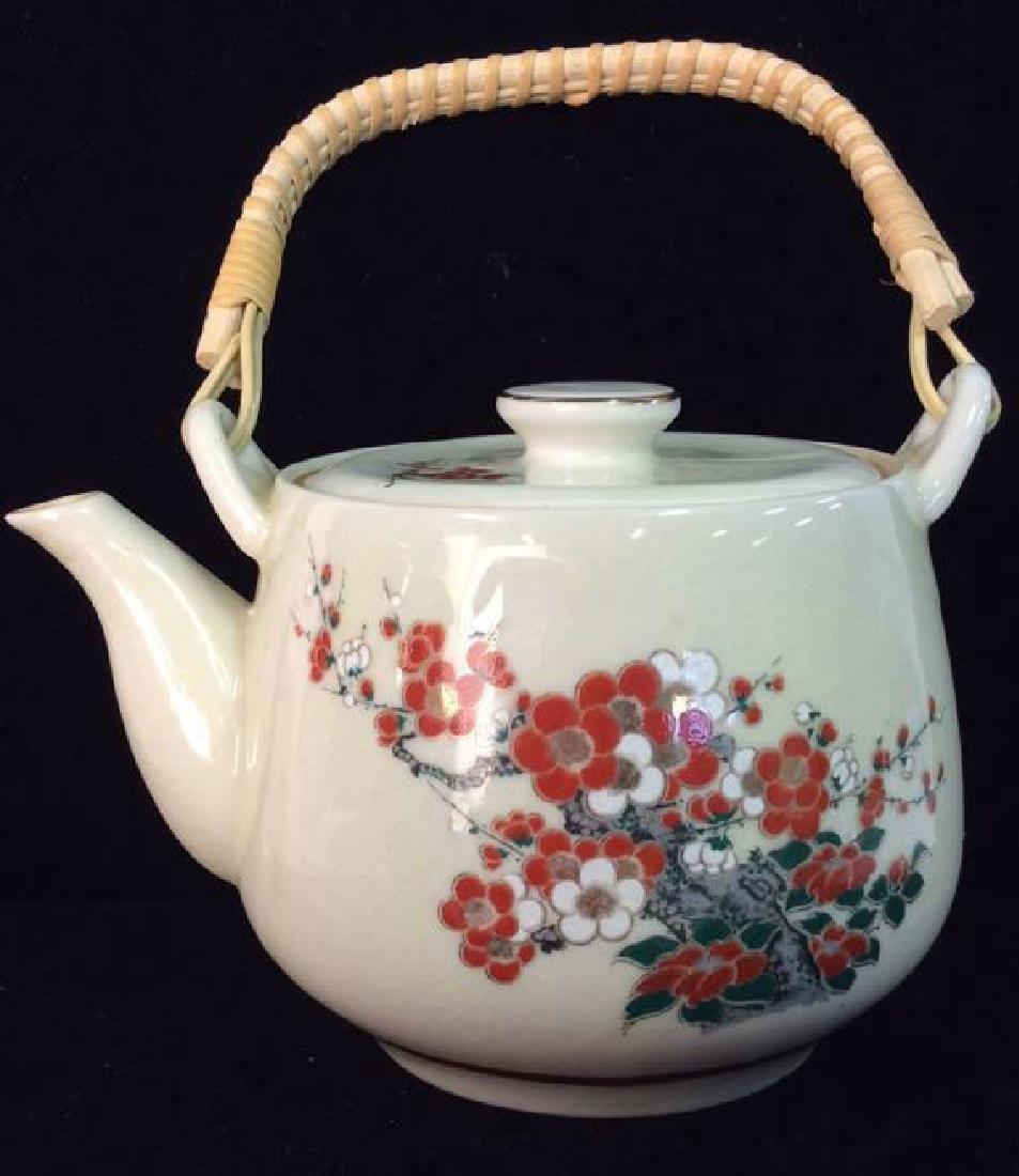 Ceramic Oriental Floral Design Teapot
