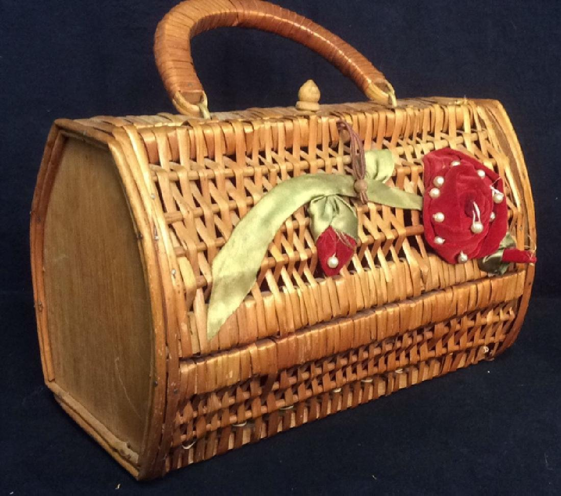 Vintage Woven Wicker Sewing Basket Carry All