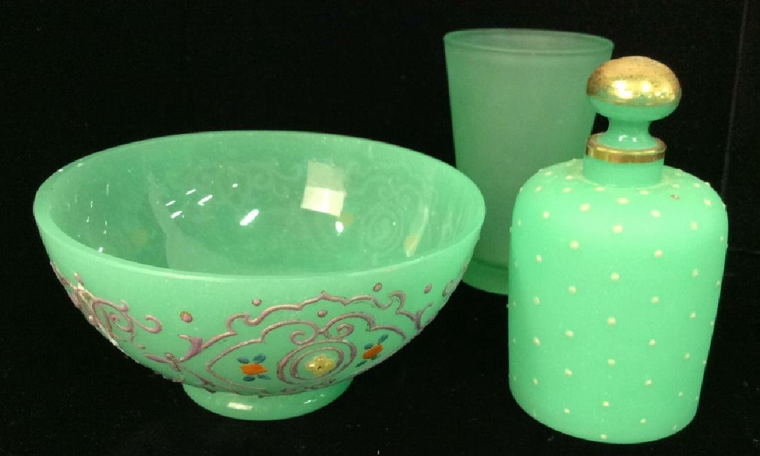 Lot 3 Vintage Frosted Green Glass Pieces UMBRA