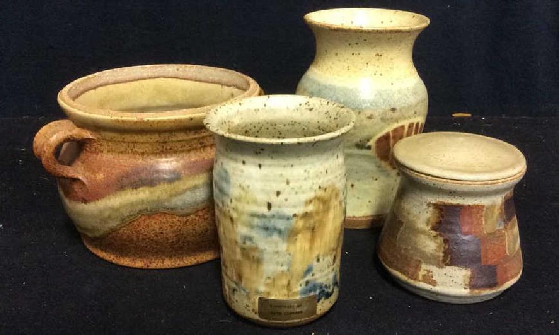 Lot 4 Signed Stoneware Pots & Jars