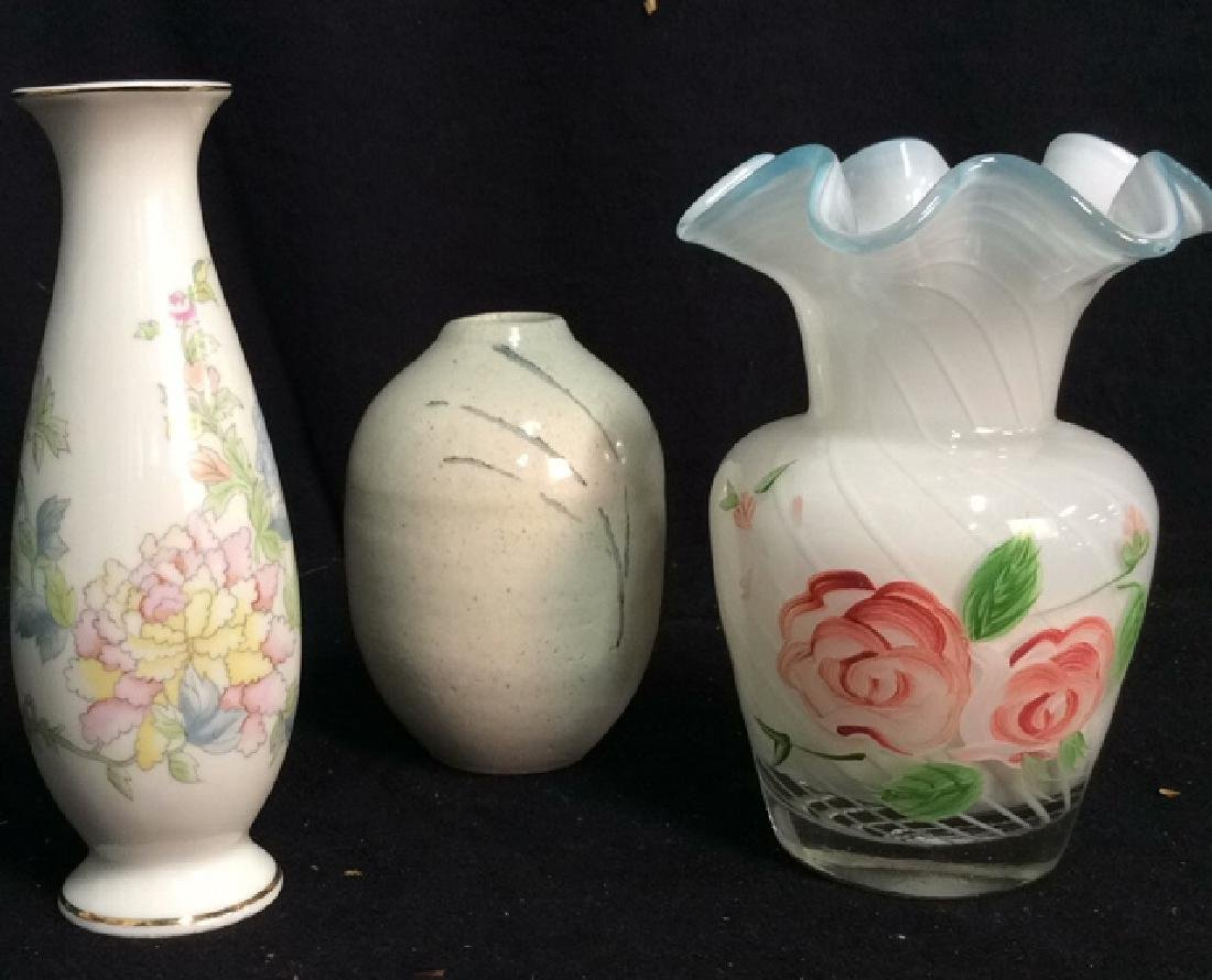 Group 3 Assorted Ceramic Glass Vases