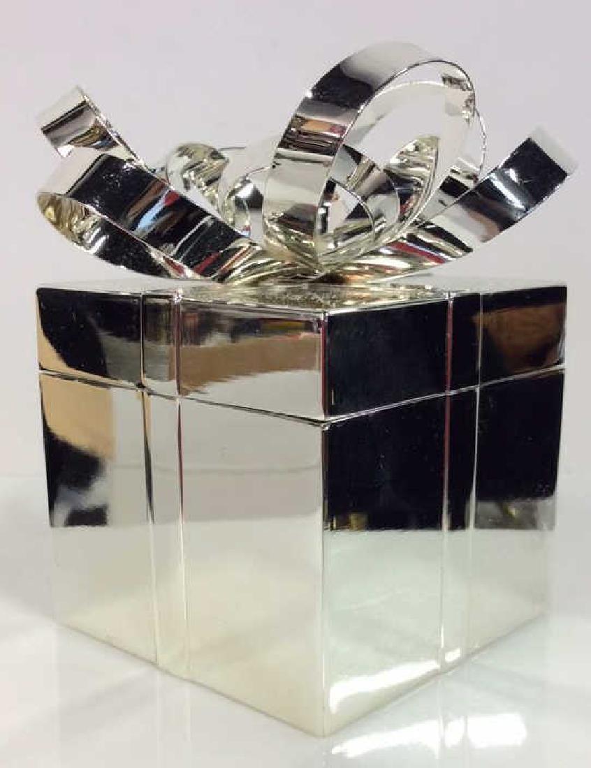 Silver Toned Metal Gift Box Trinket Box