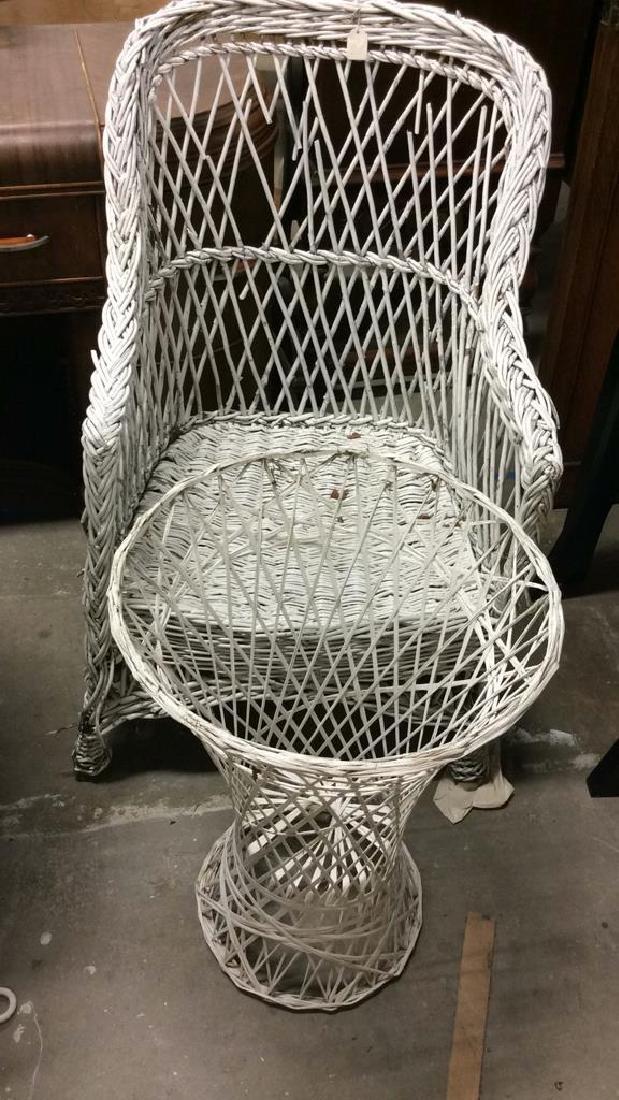 Lot 2 Wicker Chair & Planter Holder