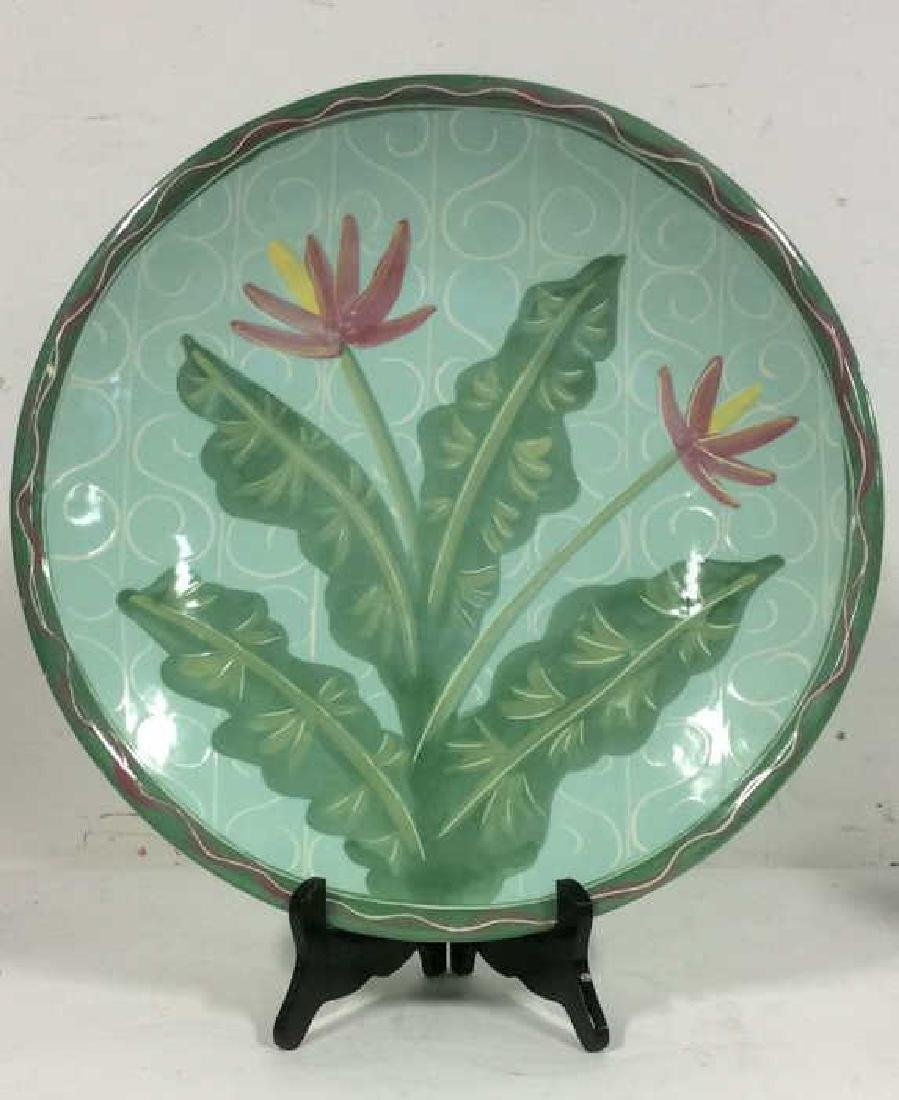 Ceramic Circle Shaped Serving Platter, Signed