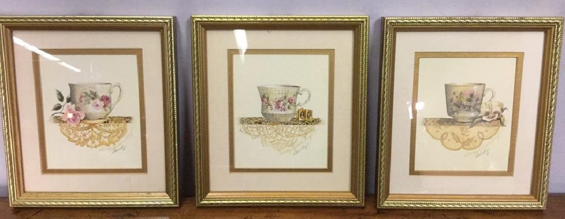 Lot 3 Framed Teacup Prints