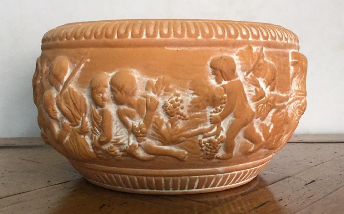 Ceramic Terra-cotta Planter With Cherub Motif