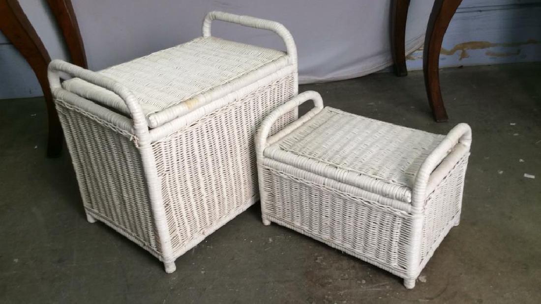 Lot 2 Handled Wicker Baskets W Lids