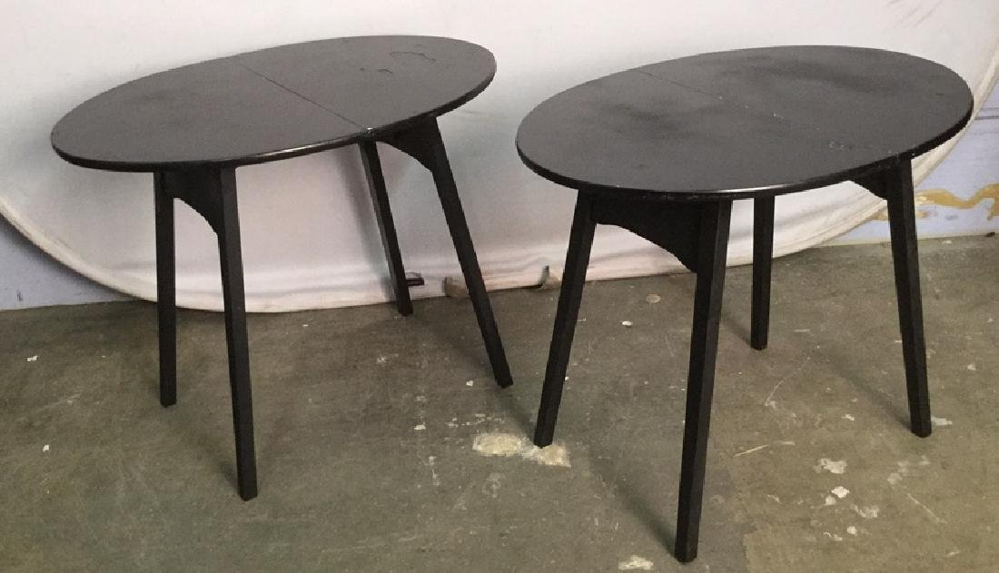 Pair Of Oval Shaped Folding Side Tables