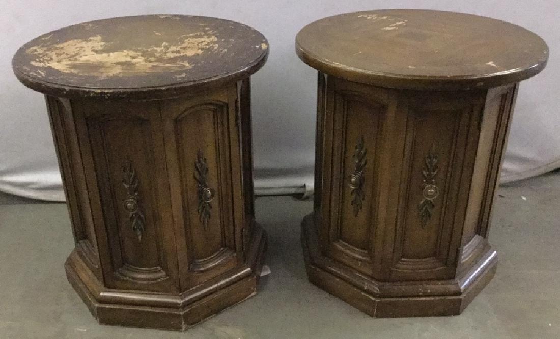 Pair Of Vintage Drum End-tables