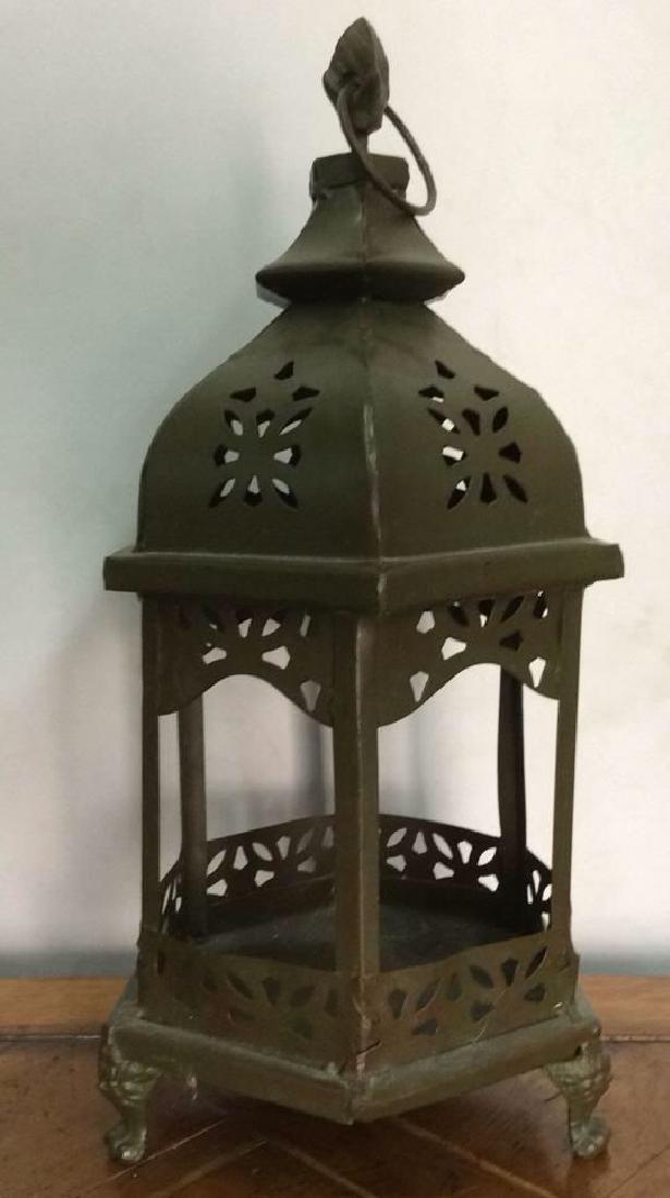 Vintage Metal Pierced Candle Lantern