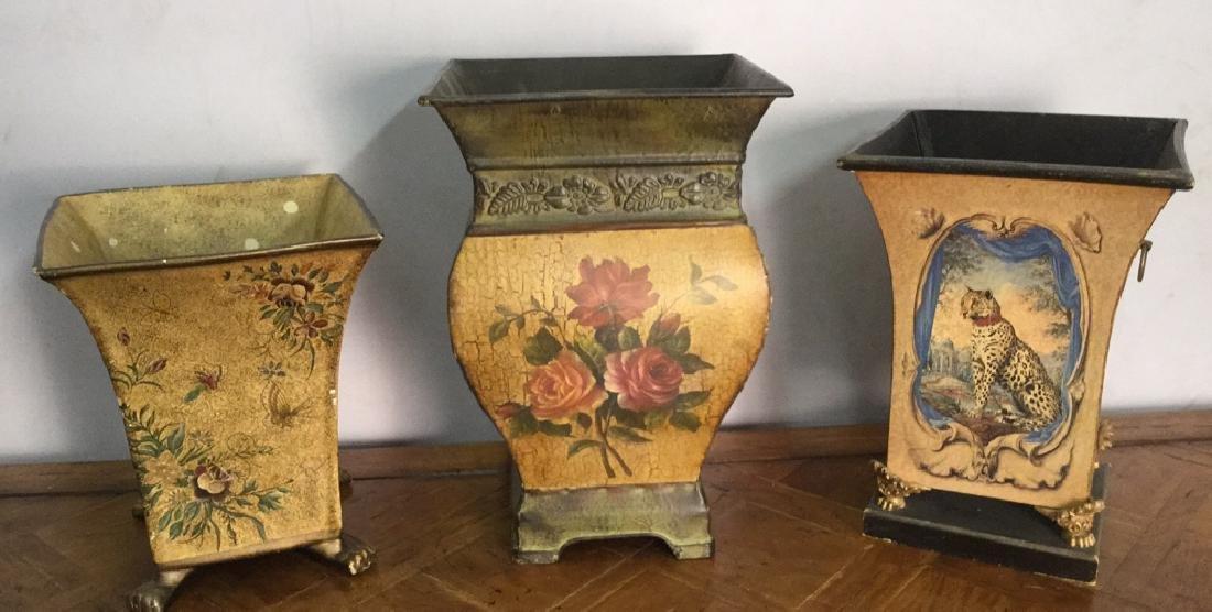 Lot 3 Decorative Tole Style  Vases