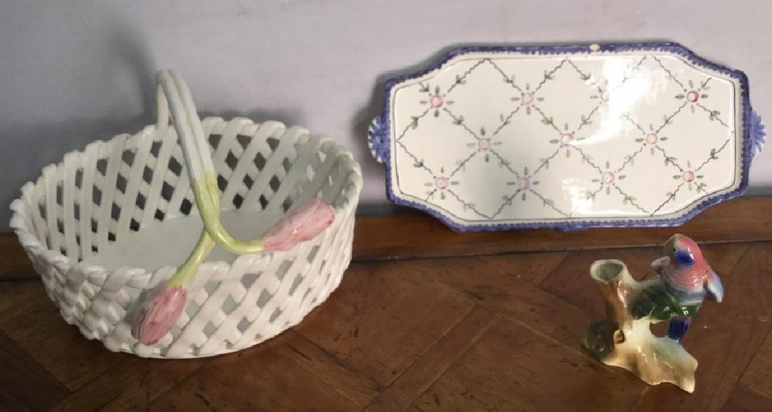 Lot 3 Ceramic Porcelain Tabletop Accessories