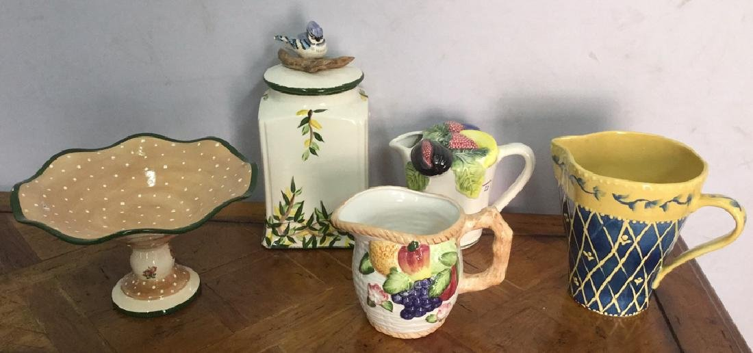 Lot 5 Hand Painted Ceramic Kitchen Accessories