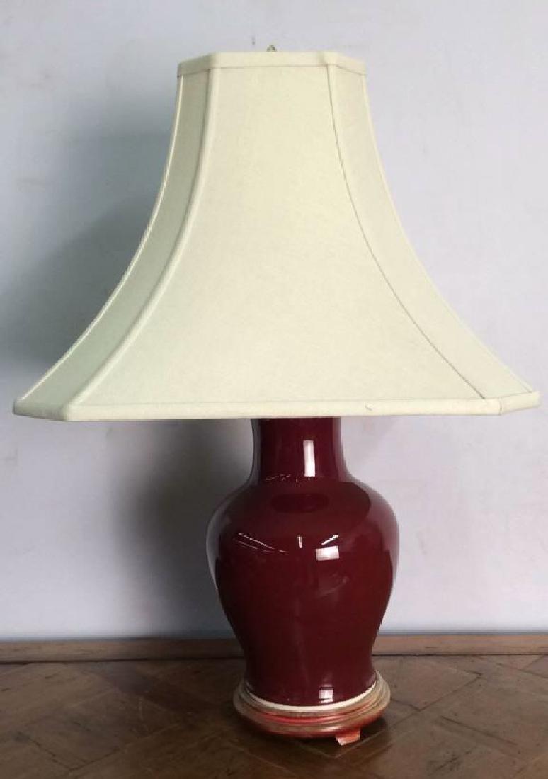 Red Toned Ceramic Porcelain Lamp W Shade