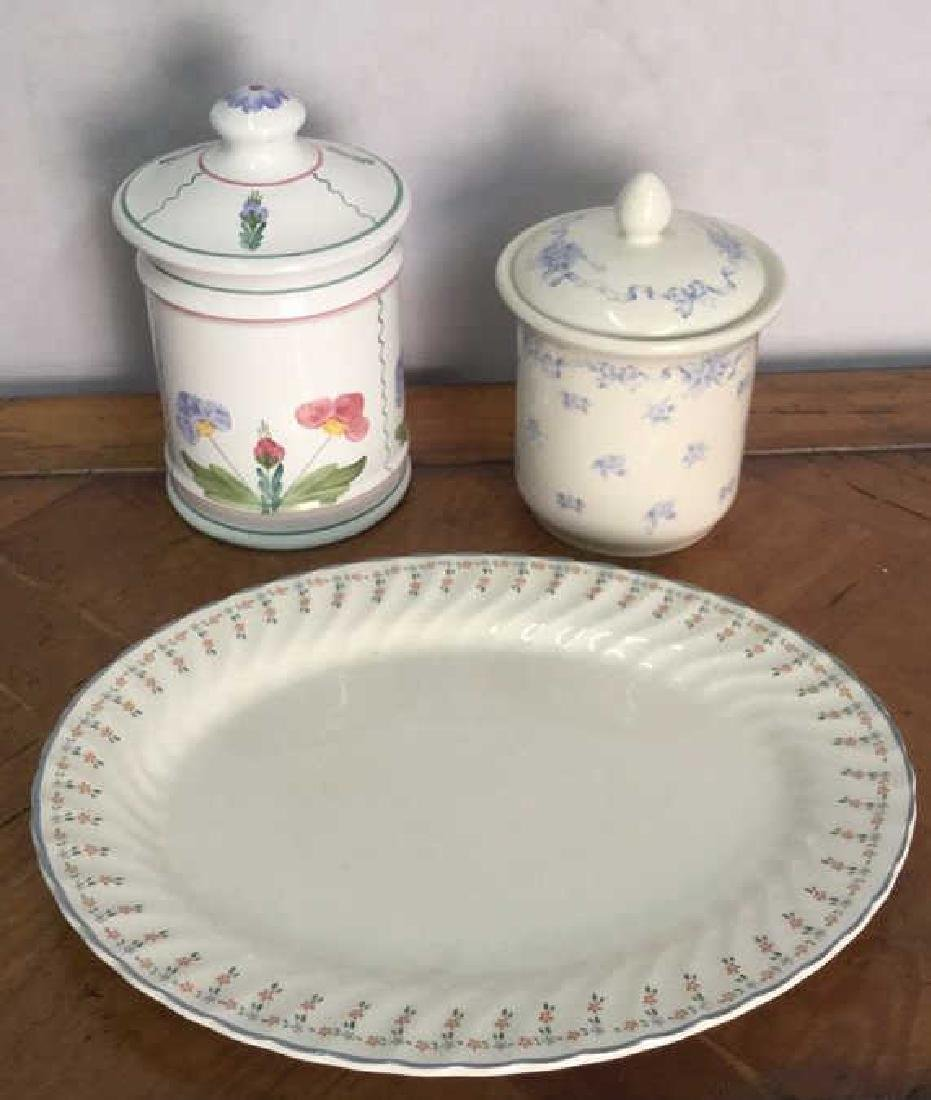Lot 3 Ceramic Porcelain Platter And Jars