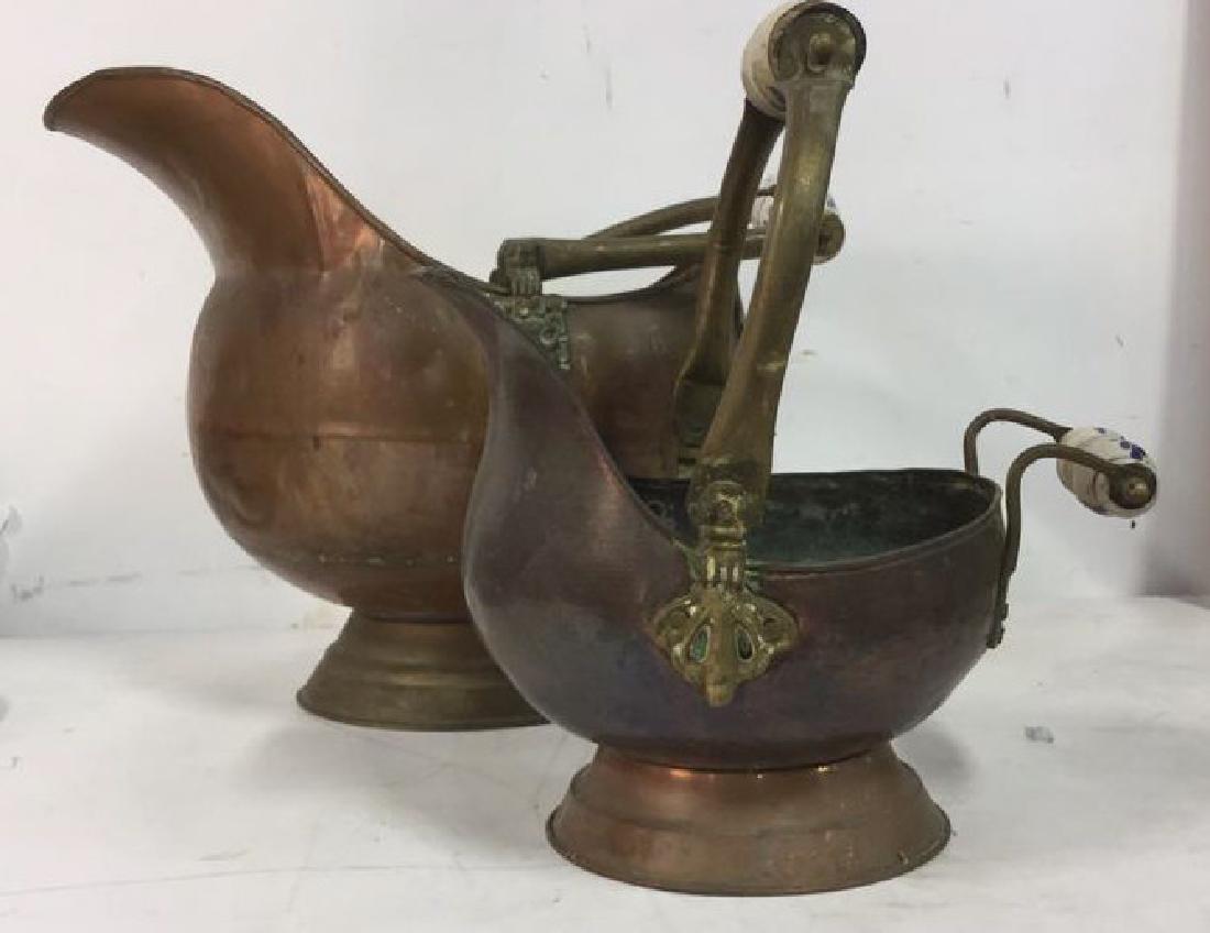 2 Copper Brass Porcelain Handled Coal Buckets