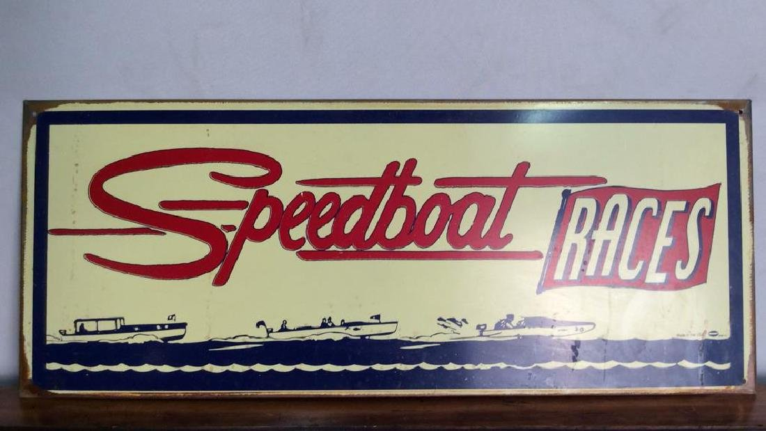 Vintage Metal SPEEDBOAT Races Sign