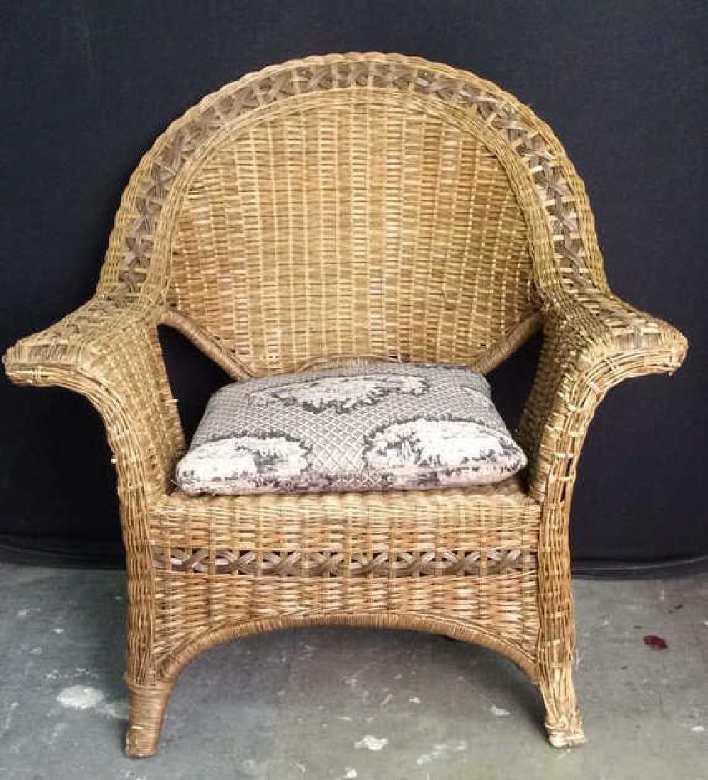 Indoor/Outdoor Wicker Arm Chair W Pillow