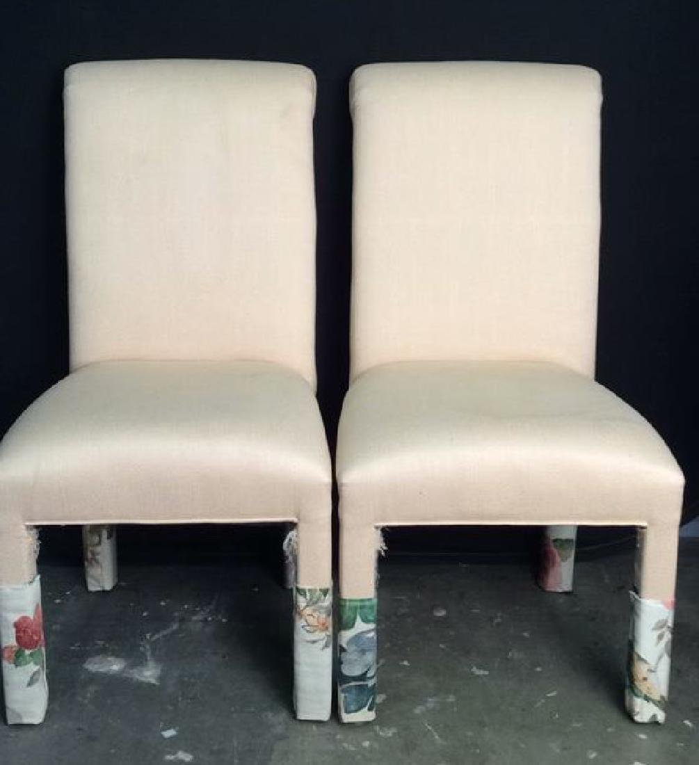 Pair Pink Toned Upholstered Side Chairs