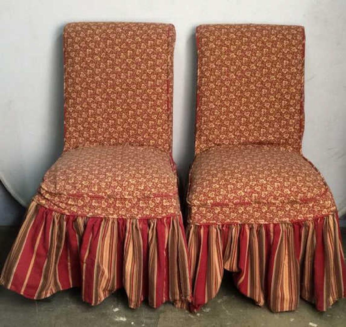 Pair Upholstered Skirted Floral Detailed Chairs