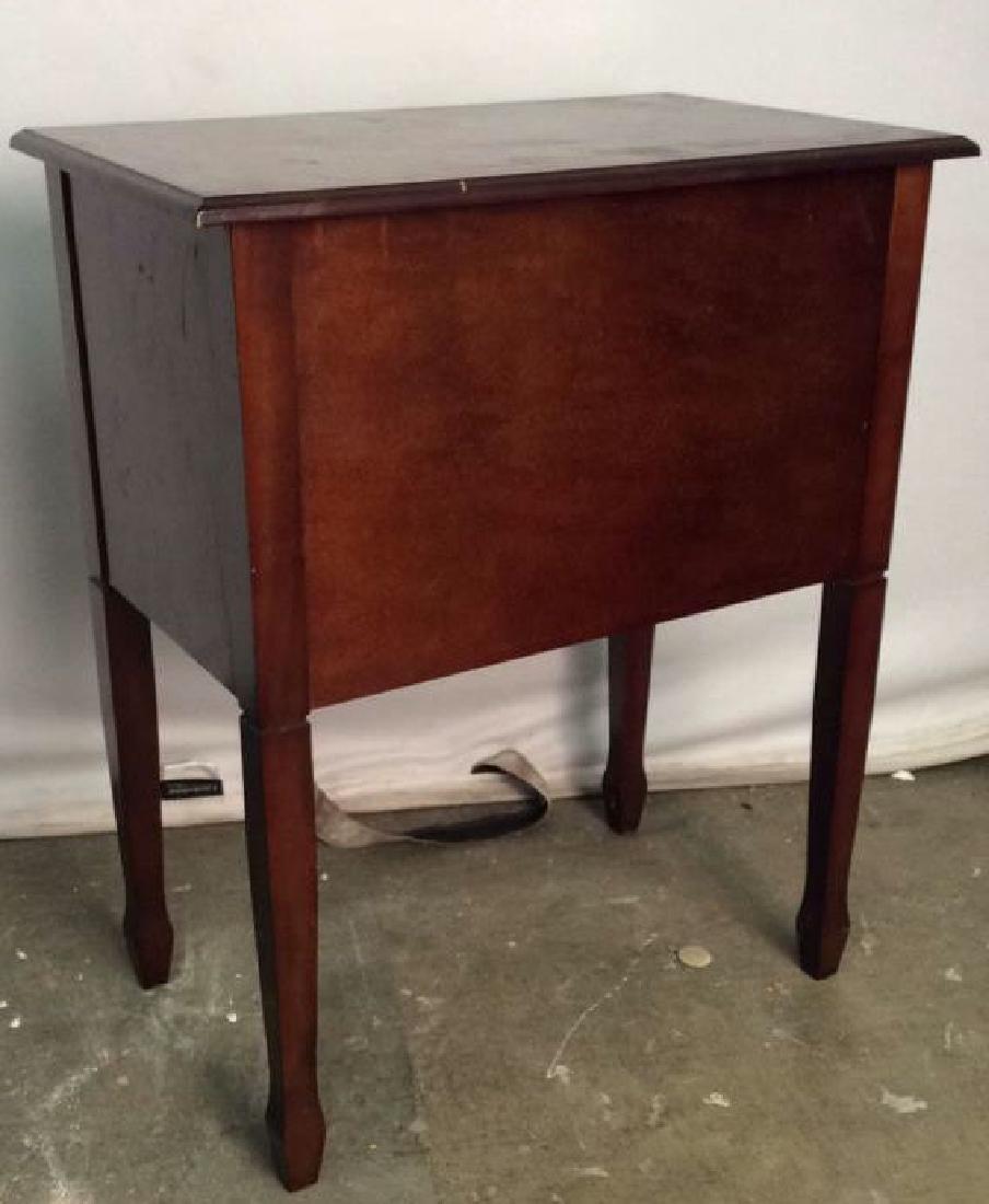 Mahogany Toned Flip Open Wooden Side Table