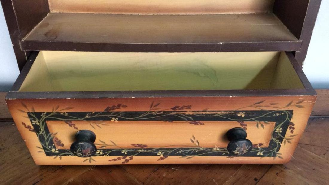 Carved Wooden Painted Hanging Wall Shelf - 2