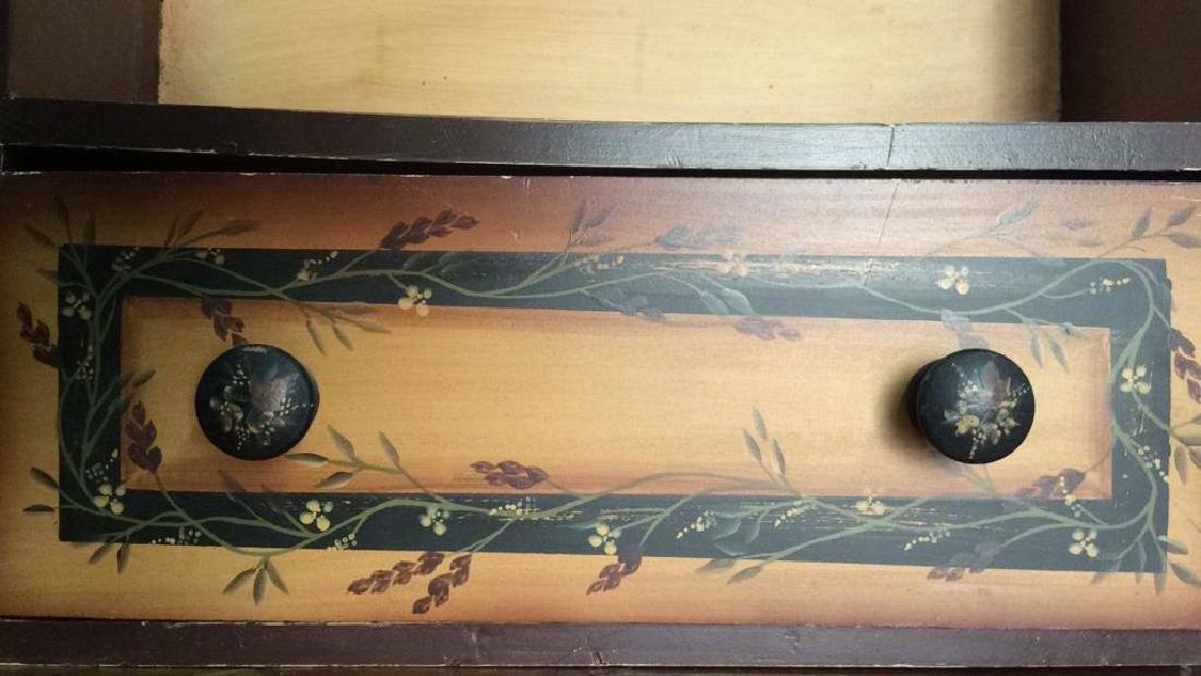 Carved Wooden Painted Hanging Wall Shelf - 6