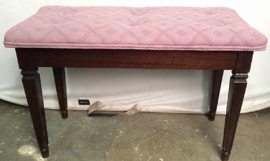 Tufted Carved Wooden Flip Up Upholstered Bench