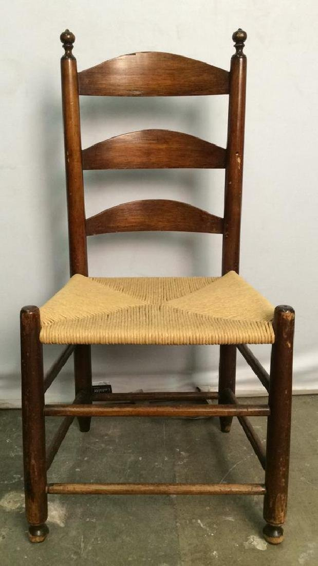 Vintage Carved Wooden Chair W Rush Seat