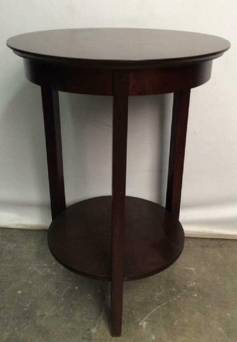 Brown Toned Round Wooden Side Table