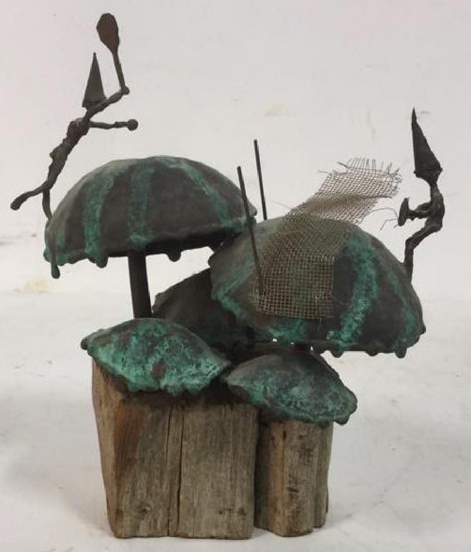 Copper Metal Brass Wood Sculpture