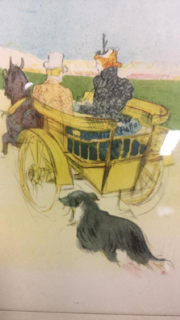 Framed Artist Proof Horse Carriage Illustration