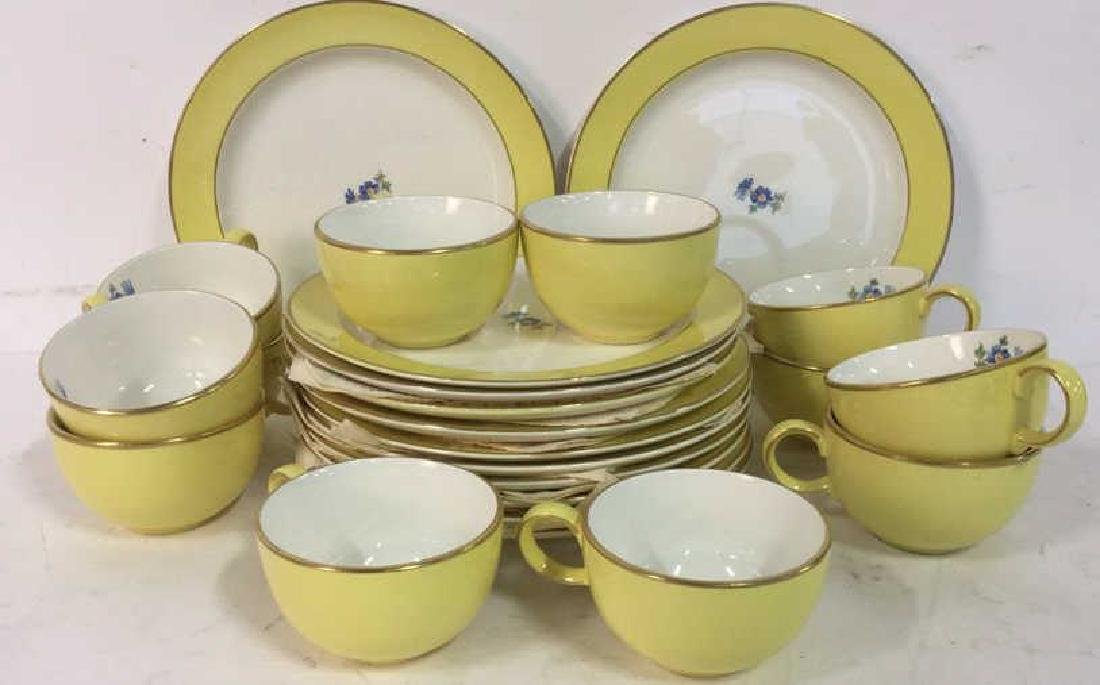Yellow White Gold Porcelain Dessert Set by HALL