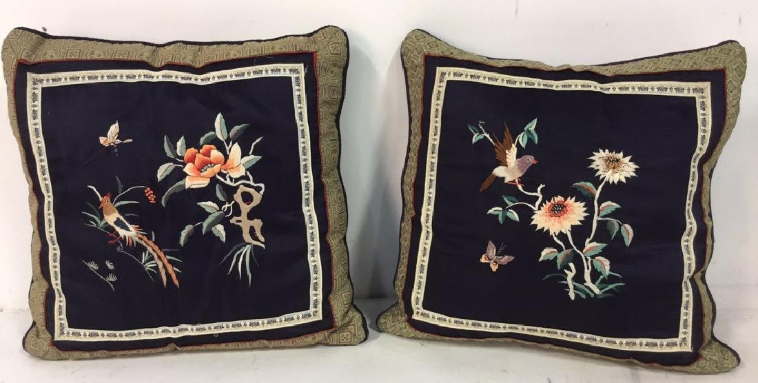 Pair Of Down Embroidered Silk Satin Pillows