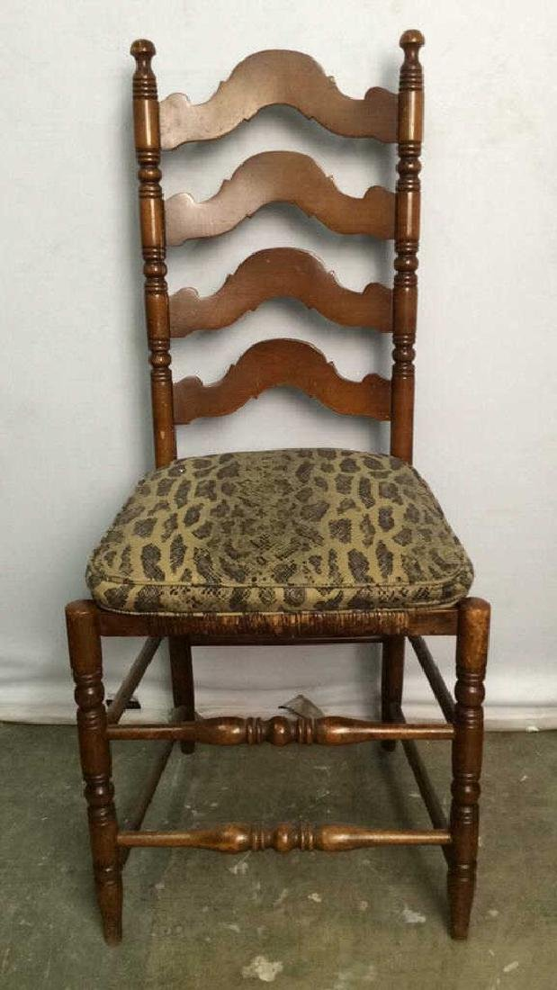Vintage Carved Wooden Ladder Back Side Chair