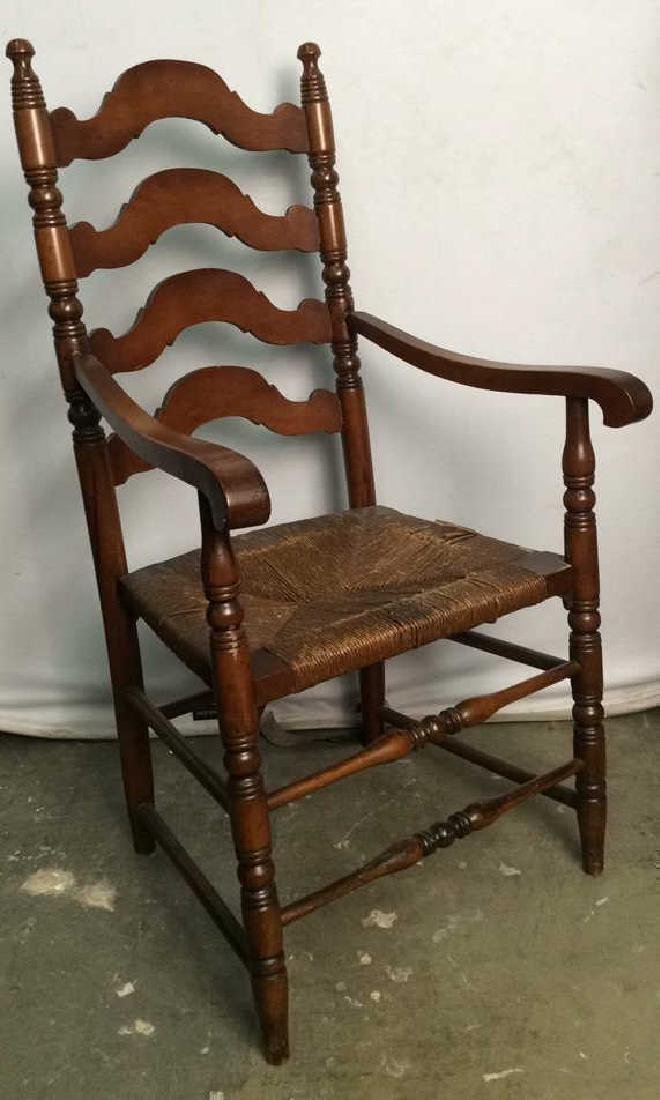 Carved Wooden Ladder Back Arm Chair
