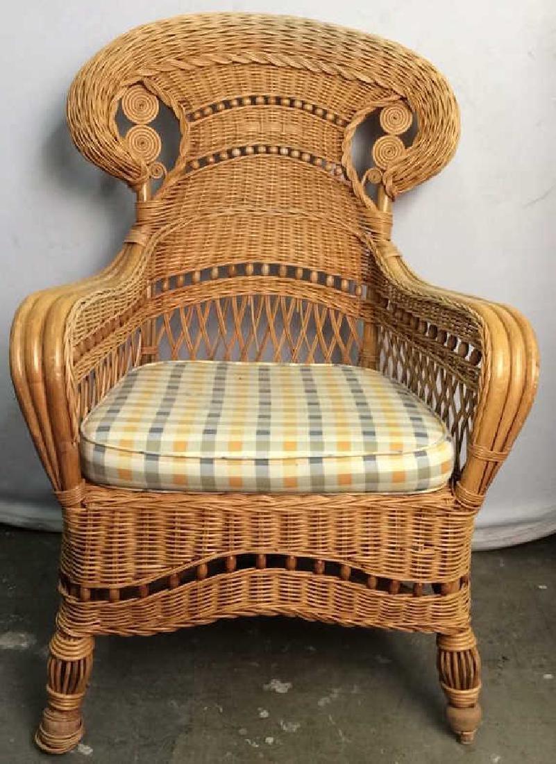 Woven Wicker Arm Chair W Cushion